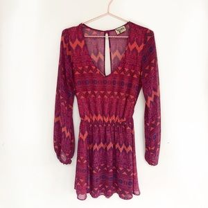 Show Me Your Mumu Raina Chiffon Long Sleeve Dress